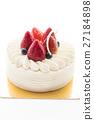 Vanilla cream cake with strawberry on top 27184898