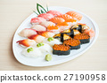 Sushi in white plate 27190958