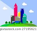 Modern urban landscape with green public park 27195621