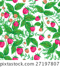 Seamless raspberry pattern. Cute hand drawing 27197807