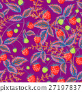 Seamless pattern with leaves and raspberry 27197837