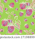 Seamless pattern with pink raspberries on green 27198899