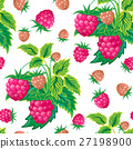 Pattern of raspberry hand painted. Fruit seamless 27198900