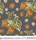Hand painted pattern of pastel brown raspberry on 27198909