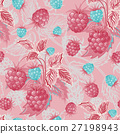 Seamless pattern with pink blue raspberries. Hand 27198943