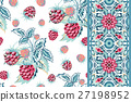 Set of vector seamless pattern with blue pink 27198952