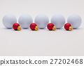 Golf balls and red  Christmas decoration 27202468