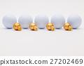 Golf balls and golden Christmas decoration 27202469