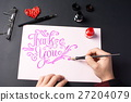 Man writing a Thank you note 27204079