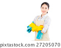 woman ready for spring cleaning with gloves 27205070