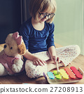 Little Girl Playing Toys Concept 27208913