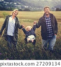 Family Parents Holding Hands Boy Swinging Concept 27209134