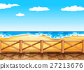 Beach scene with wooden bridge 27213676