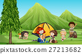Children camping out in the woods 27213682