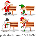 Christmas theme with wooden signs and characters 27213692