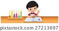 Boy calculating math on the desk 27213697
