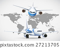 Two angles of airplanes on world map 27213705