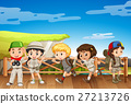 Five kids in safari costume on the bridge 27213726