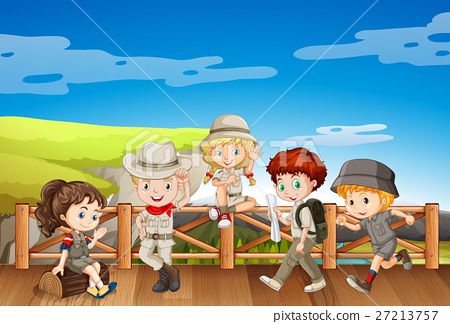 Children in safari costume on the bridge 27213757