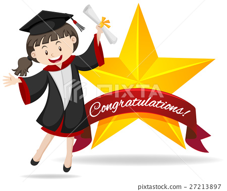Congratulation sign with girl holding degree 27213897
