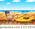 Ocean scene with two kids reading map 27213919