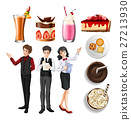 People in restaurant and desserts and drinks 27213930