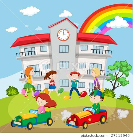 Kids playing in the school field 27213946