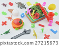 Colorful plastic toys on white, Education concept 27215973