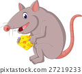 Cute mouse cartoon holding cheese 27219233