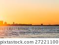 후나 바시 산방 여울 해변 공원 후지산과 황혼 (지바현 후나 바시시) 27221100