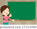 Teacher in front of chalkboard with copy space 27223484
