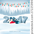 Holiday background with 2017 and garland. Vector. 27225994
