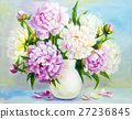 Peony flowers in a white vase 27236845