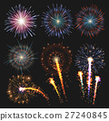 Collection festive fireworks of various colors 27240845