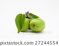 Green plum fruite with leaf on a whtie 27244554