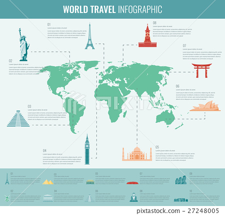 Travel and tourism infographic set with world map stock infographic set with world map gumiabroncs Gallery