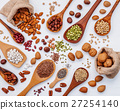 Various kind legumes and nutshells . 27254140