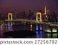rainbow bridge, tokyo tower, suspension bridge 27256792