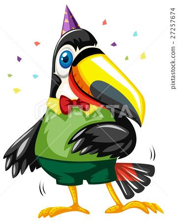 Toucan bird wearing party hat 27257674