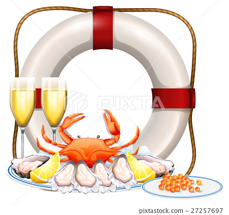 Seafood on plate and two glasses of champagne 27257697