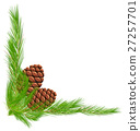 Border template with pinecones and leaves 27257701