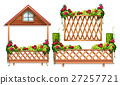 Fence design with roses and bush 27257721
