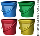 Four buckets of water in four colors 27257728