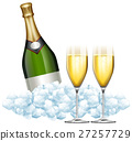 Two glasses of champagne and bottle in ice 27257729