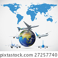 Many airplanes flying around the world 27257740