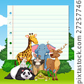 Border design with many wild animals 27257746