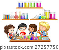 Kids doing science experiment and set of beakers 27257750