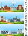 Three scenes with factories in the field 27257761