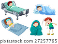 Kids being sick in bed 27257795