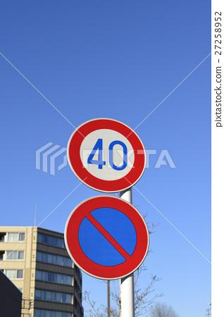 road sign, roadsign, blue sky 27258952